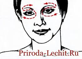 Поглаживание круговой мышцы глаза